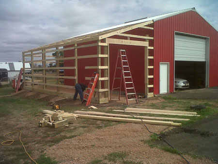 Michels post frame bulidings for Lean to addition to garage